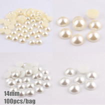 100pcs14mm   Pure White and Ivory Imitation Half Round Pearl