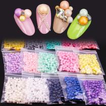 20G/ Bag  Mix Size No Hole  Monochrome Series Nail Matte Perals