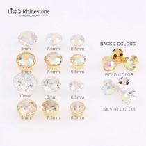 New 3D Shine Silver Golden Flower Edge Sew On Crystal AB Crystal Clear Glass Rhinestone For DIY Wedding Dresses Crafts