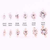 High Quality Round Crystal Glass Stones Gold & Silver Metal Base Setting Claw With Two Loops Sew On Beads Rhinestone DIY Jewelry Charms