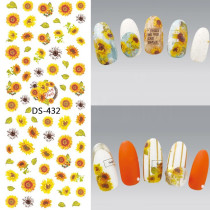 DS-430-439  Sunflower White Lace Watermark Large Sheet Decal Sticker