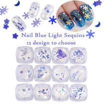 1Box Nail Glitter Laser Sparkling Diamond Crystal Blue Shiny Flower/Star/Triangle