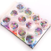 12pcs/box Laser Sequin Mix Color 26 Letters Design Slice Nail Art 3D Glitter