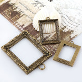 2017 Vintage Rectangle Antique Bronze Metal Hollow Frame Glue Blank Connector Charms Pendant DIY Jewelry Findings Accessories