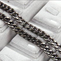 1 Meter Aluminum Metal Gun Black Flat Byzantine Necklace  Chains