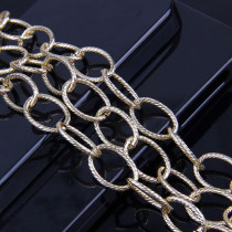 2 Meters 1.3x2.2x12x15.2mm Metal Gold O ShapeTextured Cable Necklace Curb Chains
