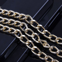 1 meter  2.3x9.2x14.5mm Aluminum Metal Gold Flat Necklace Chain