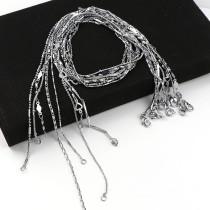 2PCs Copper Mixed Shape Curb Necklace Bulk Chains