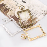 2017 2pieces Vintage Rectangle Antique Metal Hollow Frame Glue Blank Connector Charms Pendant DIY Jewelry Findings Accessories