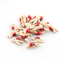7x25x4mmSmall Mini Size Ladybug Natural Wooden Pegs Birthday Baby Shower