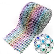 2017 12 Rows 10mm Rainbow Rhinestone Mesh Trim (Without Rhinestone) Plastic Sew On DIY Wedding Dress/Party Jewelry
