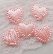 1000Pcs 15*15mm ABS 14Color Heart  Pearl Cobochon