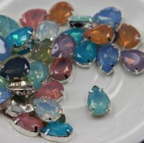 140044 20個 しずく 13*18㎜ 樹脂opal シルバー台座付き