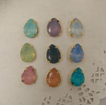 140044 20個 しずく 13*18㎜ 樹脂opal ゴールド台座付き