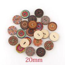 1set(50pcs) 20mm ウッドボタン