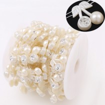 ABS pearl beads chain   5pcs  23mm   off White