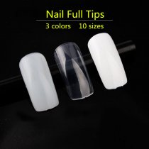 500pcs/pack Nail Art Tips Full Nail Tips Natural/Transparent/White