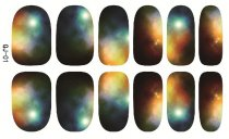 QJ01-16  12Tips/Pc Self Adhensive Nail Wraps Full Cover Foil Galaxy Nail Tips