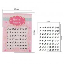 English Alphabet 4 Colors Black White Gold Silver Stereoscopic Nail Sticker