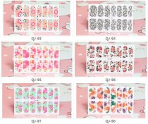 QJ093-107  14Tips/Pc Colorful Flower Design Full Cover Nail Art Sticker