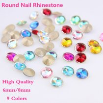 5Pcs  6mm/8mm  High Quality K9 Rhinestone Sharp Bottom Round