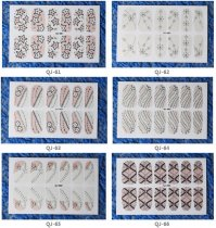 QJ61-76  12Tips Pink Nail Art Tips Stickers