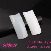 500pcs/pack 10Sizes  French Style Plastic Nail Art Tips