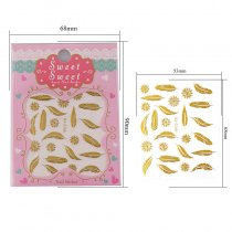 1Pc Feather Flower Design 4 Colors  Nail Sticker