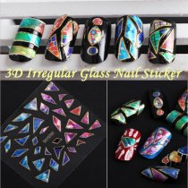 1Pc Explosions Irregular Broken Glass Mirror Foil Nail Sticker