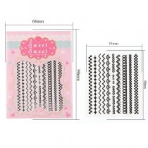 Sticker Stripe 4 Colors Black White Gold Silver Stereoscopic Nail Sticker