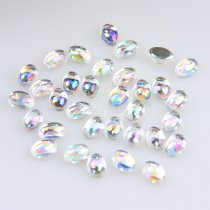 About 50pcs  4x6mm Clear AB Nail Rhinestone Acrylic Oval Smooth Nail Rhinestone