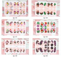 QJ45-60  12Tips Colorful Butterfly Full Cover Nail Art Sticker