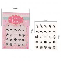 Shell Hippocampus Flower 4 Colors Black White Gold Silver Stereoscopic Nail Sticker