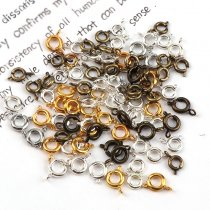 20pcs/1000pcs   6mm  Vintage Metal Round Spring Ring Clasp Buckle Hook