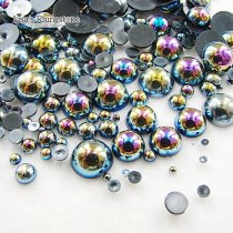 1000pcs/Bag Mix Sizes AB Color Half Round bead imitation ABS Flat back Pearl