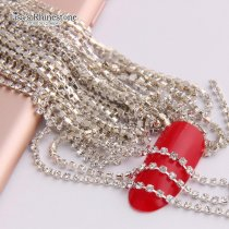 SS4  Mini AAA+ Top Quality  2.7meters Crystal Clear Gold Silver Base Sparse/Close Chain Nail DIY Wedding Applique Dresses