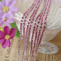 wholesale SS6,SS12 Rose Silver Base Close Rhinestone Chain For DIY Wedding Dress Beauty Accessories Nail Art