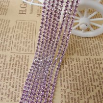 2017 New Style 1 Meter Close Silver Base Light Purple Crystal Glass SS6 SS12 Sew On Rhinestone Chain For DIY Beauty Accessory,Nail Art