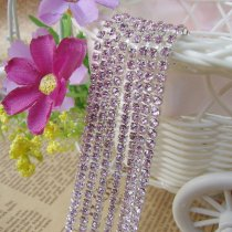 2017 New Style 1 Meter Close Silver Base Light Pink Crystal Glass SS6 SS12 Sew On Rhinestone Chain For DIY Beauty Accessory,Nail Art