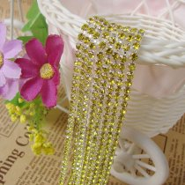 2017 New Style Close Silver Base Citrine Crystal Glass SS6 SS12 Sew On Rhinestone Chain For DIY Beauty Accessory,Nail Art