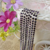 wholesale SS6,SS12 Amethyst Dark Purple Silver Base Close Rhinestone Chain For DIY Wedding Dress Beauty Accessories Nail Art