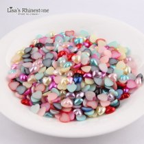 14mm Heart Imitation Pearls Half Round Shape