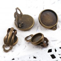 10pieces 10mm(Fit 8mm) 12mm(Fit 10mm)Metal Round Earring Clip Ear Pad