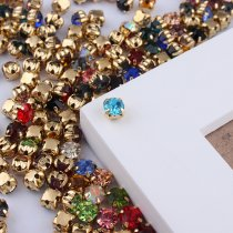 New Arrived  Gold Base Sew-On Mix Colors rhinestones Claw rhinestones  stone for wedding dress decoration