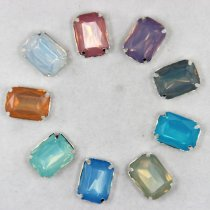 13*18mm 20pcs Rectangle Mix opal colors sew on Resin rhinestones silver claw setting Sewing Rhinestones buttons DIY
