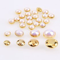 72Pcs 6mm/8mm Sew On pearls buttons Gold Silver  Edge