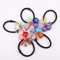 Hot Sales New Korean Girls Elastic Hair Bands Colorful Crystal Flower Ponytail Holder Rope DIY Kids Hair Barrettes Accessories