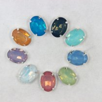 News 13*18mm Oval Mixed opal colors sew on Resin rhinestones with silver claw setting Sewing Rhinestones buttons 20pcs DIY