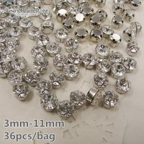 Shining 36pcs 7 Sizes Round Crystal Clear Color Sew on Rhinestones With Claw Beads Costumes Diamante with Settings DIY for Dress