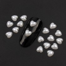 6mm Heart Flatback Plastic Pearl Beads ABS